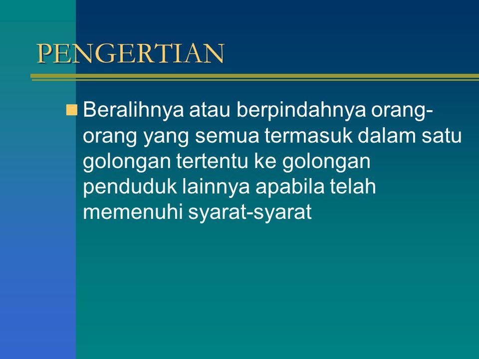 3 MACAM PERALIHAN GOLONGAN PENDUDUK 1.PERSAMAAN (GELIJKSTELLING) 2.