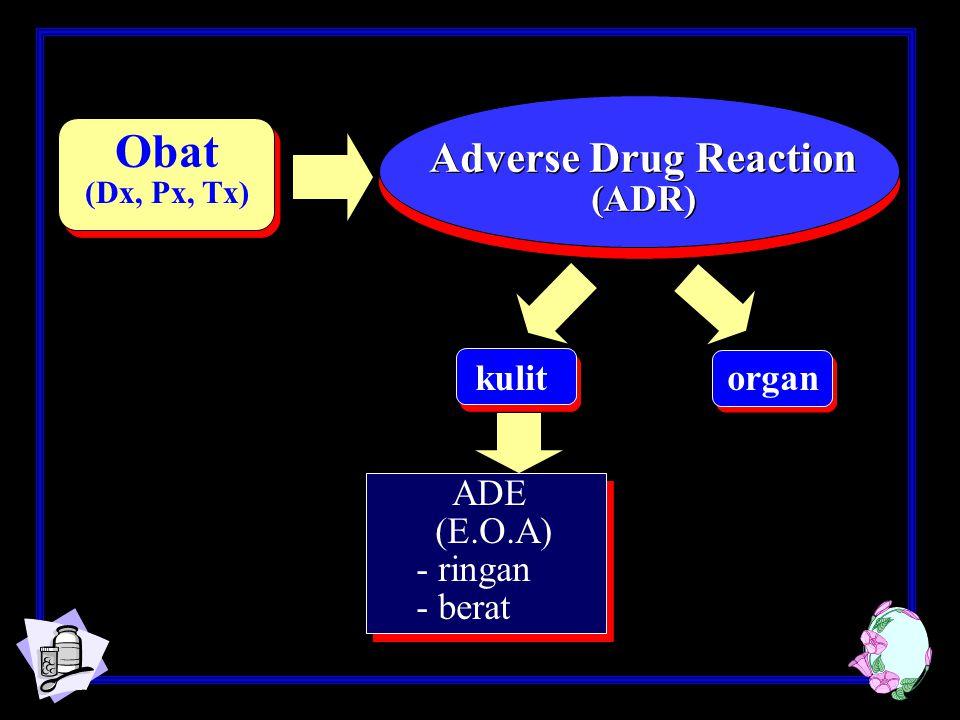 Obat (Dx, Px, Tx) Adverse Drug Reaction (ADR) Adverse Drug Reaction (ADR) kulit organ ADE (E.O.A) - ringan - berat
