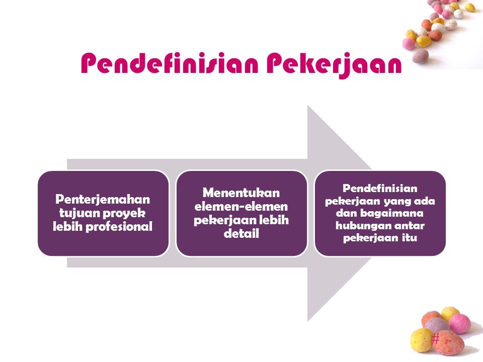 # Pendefinisian Pekerjaan Penterjemahan tujuan proyek lebih profesional Menentukan elemen-elemen pekerjaan lebih detail Pendefinisian pekerjaan yang ada dan bagaimana hubungan antar pekerjaan itu