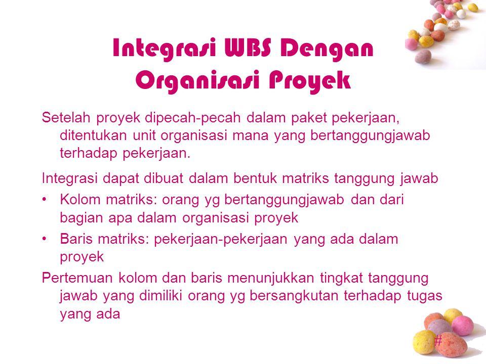 # Integrasi WBS Dengan Organisasi Proyek Setelah proyek dipecah-pecah dalam paket pekerjaan, ditentukan unit organisasi mana yang bertanggungjawab terhadap pekerjaan.