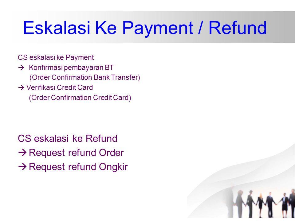 Eskalasi Ke Payment / Refund CS eskalasi ke Payment  Konfirmasi pembayaran BT (Order Confirmation Bank Transfer)  Verifikasi Credit Card (Order Conf