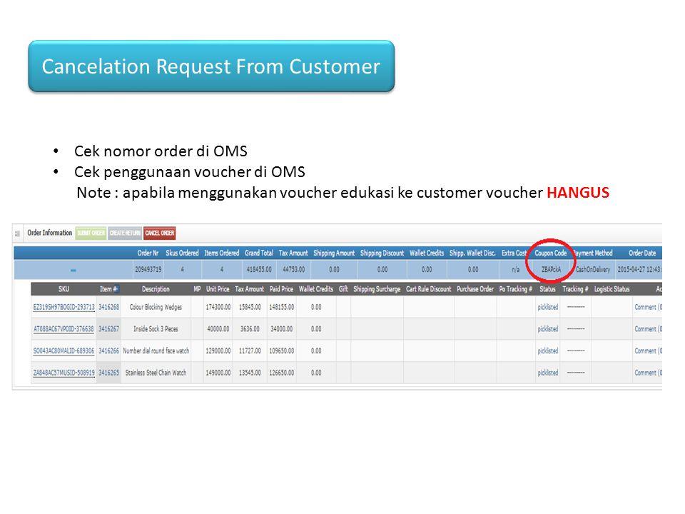 Cancelation Request From Customer Cek nomor order di OMS Cek penggunaan voucher di OMS Note : apabila menggunakan voucher edukasi ke customer voucher HANGUS