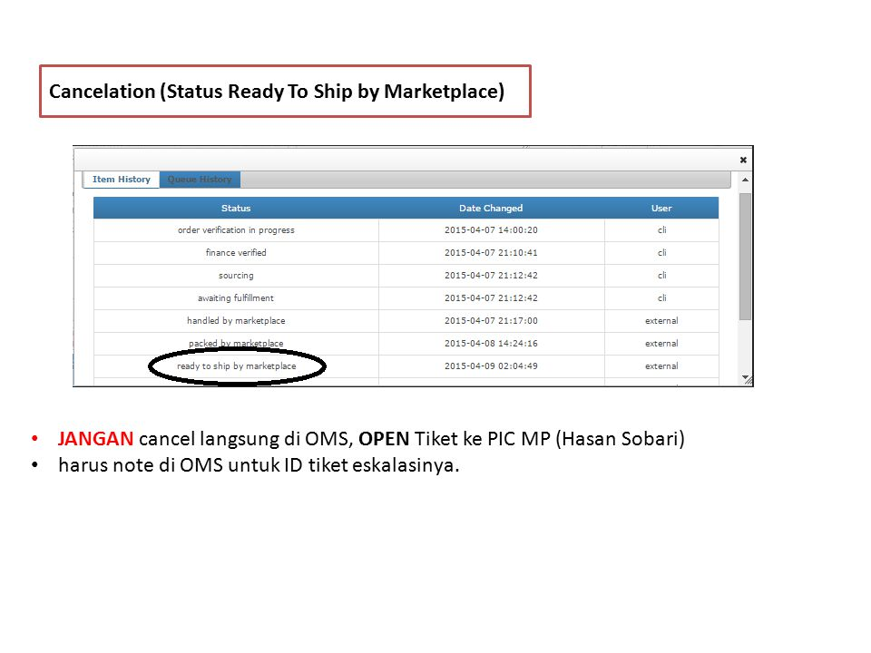 Cancelation (Status Ready To Ship by Marketplace) JANGAN cancel langsung di OMS, OPEN Tiket ke PIC MP (Hasan Sobari) harus note di OMS untuk ID tiket eskalasinya.