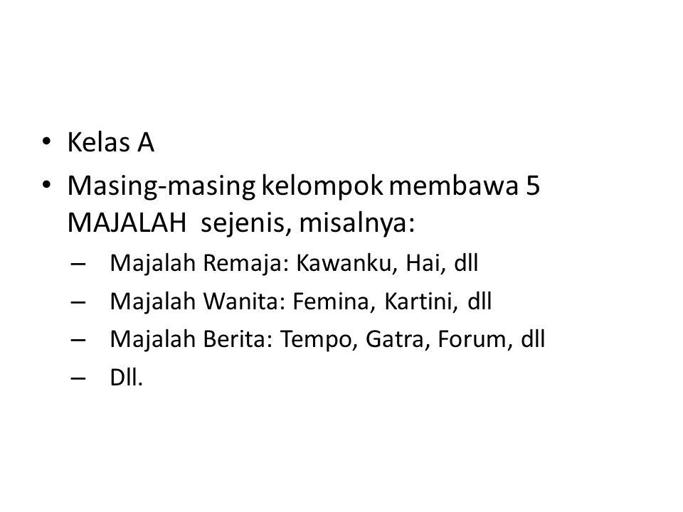 Kelas A Masing-masing kelompok membawa 5 MAJALAH sejenis, misalnya: – Majalah Remaja: Kawanku, Hai, dll – Majalah Wanita: Femina, Kartini, dll – Majal