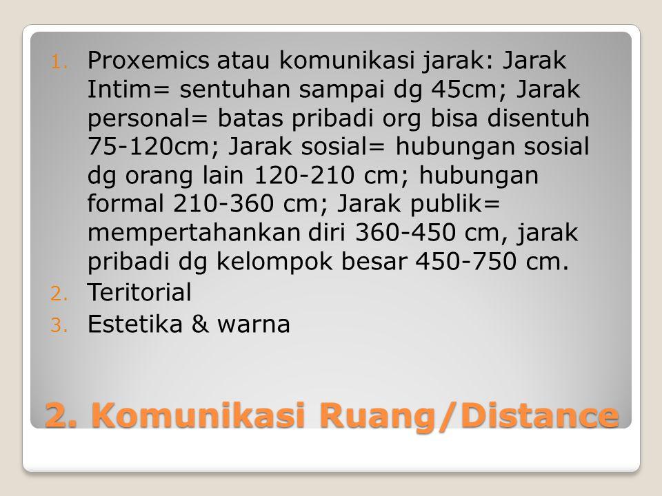 2. Komunikasi Ruang/Distance 1. Proxemics atau komunikasi jarak: Jarak Intim= sentuhan sampai dg 45cm; Jarak personal= batas pribadi org bisa disentuh