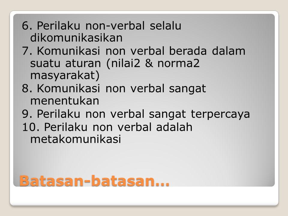 Ciri khas Perilaku Non Verbal Komunikasi non verbal selalu ada Kita tidak mungkin, tidak berkomunikasi Komunikasi non verbal terikat oleh budaya Komunikasi non verbal mengungkapkan perasaan & sikap Komunikasi non verbal memodifikasi pesan verbal membentuk makna suatu pesan komunikasi