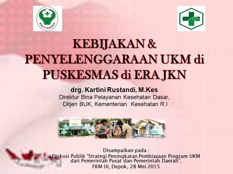 """drg. Kartini Rustandi, M.Kes Direktur Bina Pelayanan Kesehatan Dasar, Ditjen BUK, Kementerian Kesehatan R.I Disampaikan pada : Diskusi Publik """"Strateg"""