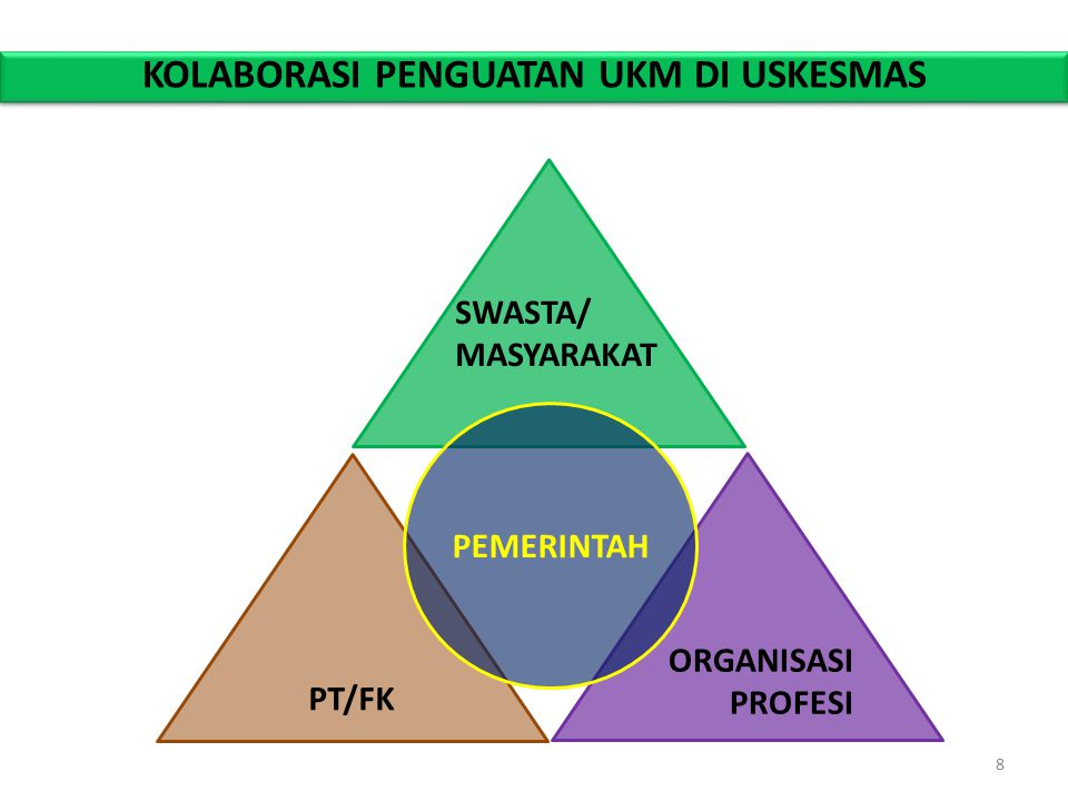 KOLABORASI PENGUATAN UKM DI USKESMAS SWASTA/ MASYARAKAT PT/FK ORGANISASI PROFESI PEMERINTAH 8