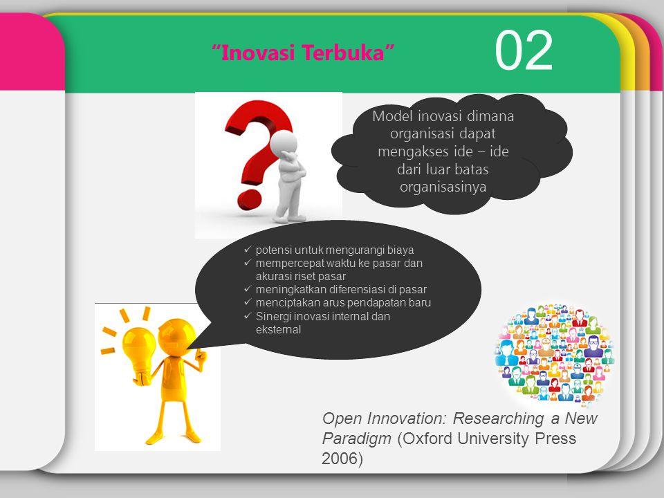 """02 """"Inovasi Terbuka"""" Model inovasi dimana organisasi dapat mengakses ide – ide dari luar batas organisasinya potensi untuk mengurangi biaya mempercepa"""