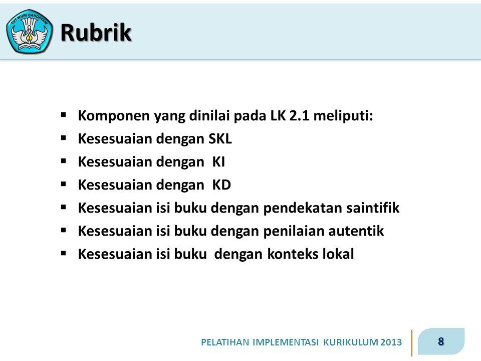 8 PELATIHAN IMPLEMENTASI KURIKULUM 2013  Komponen yang dinilai pada LK 2.1 meliputi:  Kesesuaian dengan SKL  Kesesuaian dengan KI  Kesesuaian deng