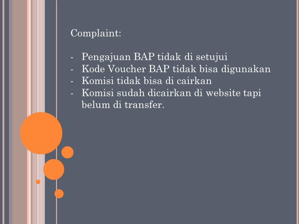 Complaint: -Pengajuan BAP tidak di setujui -Kode Voucher BAP tidak bisa digunakan -Komisi tidak bisa di cairkan -Komisi sudah dicairkan di website tap
