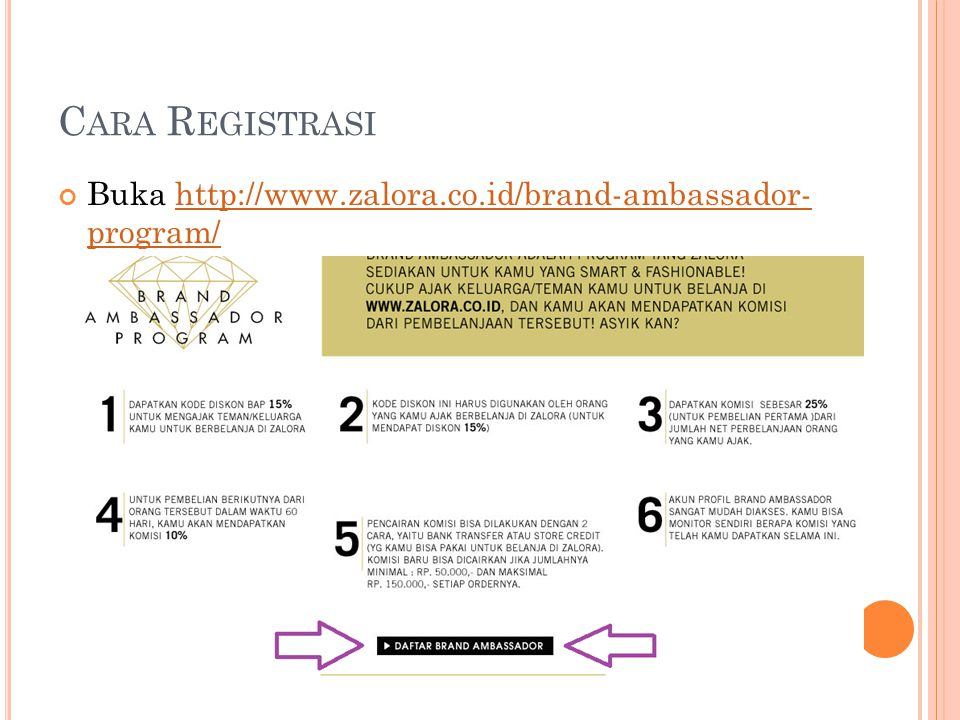 C ARA R EGISTRASI Buka http://www.zalora.co.id/brand-ambassador- program/http://www.zalora.co.id/brand-ambassador- program/