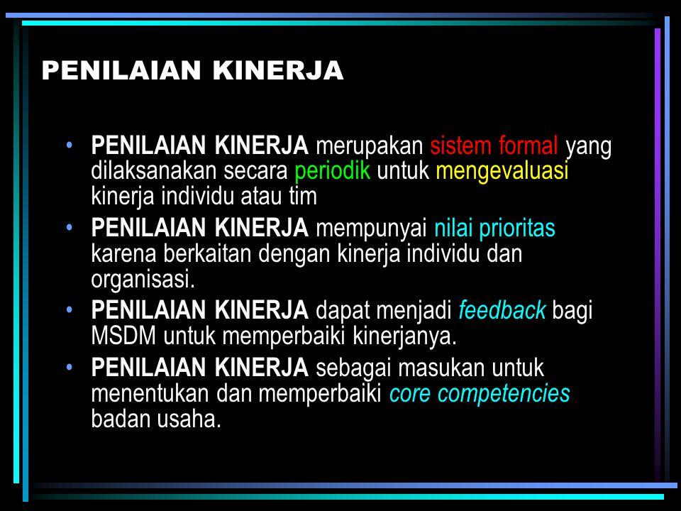 PENILAIAN KINERJA PENILAIAN KINERJA merupakan sistem formal yang dilaksanakan secara periodik untuk mengevaluasi kinerja individu atau tim PENILAIAN K