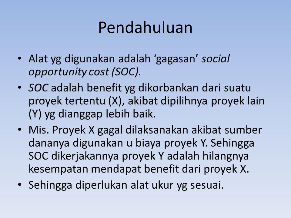Pendahuluan Alat yg digunakan adalah 'gagasan' social opportunity cost (SOC).