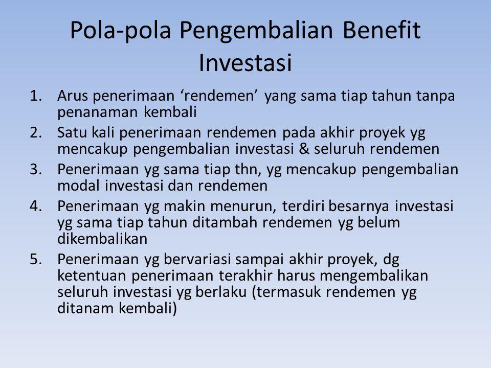 Pola-pola Pengembalian Benefit Investasi 1.Arus penerimaan 'rendemen' yang sama tiap tahun tanpa penanaman kembali 2.Satu kali penerimaan rendemen pada akhir proyek yg mencakup pengembalian investasi & seluruh rendemen 3.Penerimaan yg sama tiap thn, yg mencakup pengembalian modal investasi dan rendemen 4.Penerimaan yg makin menurun, terdiri besarnya investasi yg sama tiap tahun ditambah rendemen yg belum dikembalikan 5.Penerimaan yg bervariasi sampai akhir proyek, dg ketentuan penerimaan terakhir harus mengembalikan seluruh investasi yg berlaku (termasuk rendemen yg ditanam kembali)