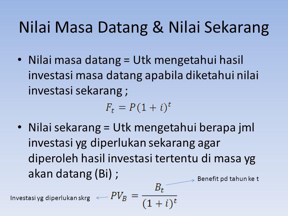 Contoh Apabila pemerintah menginginkan hasil investasi sebesar Rp.5.000.000,- lima tahun yang akan datang, dengan discount rate sebesar 13%.