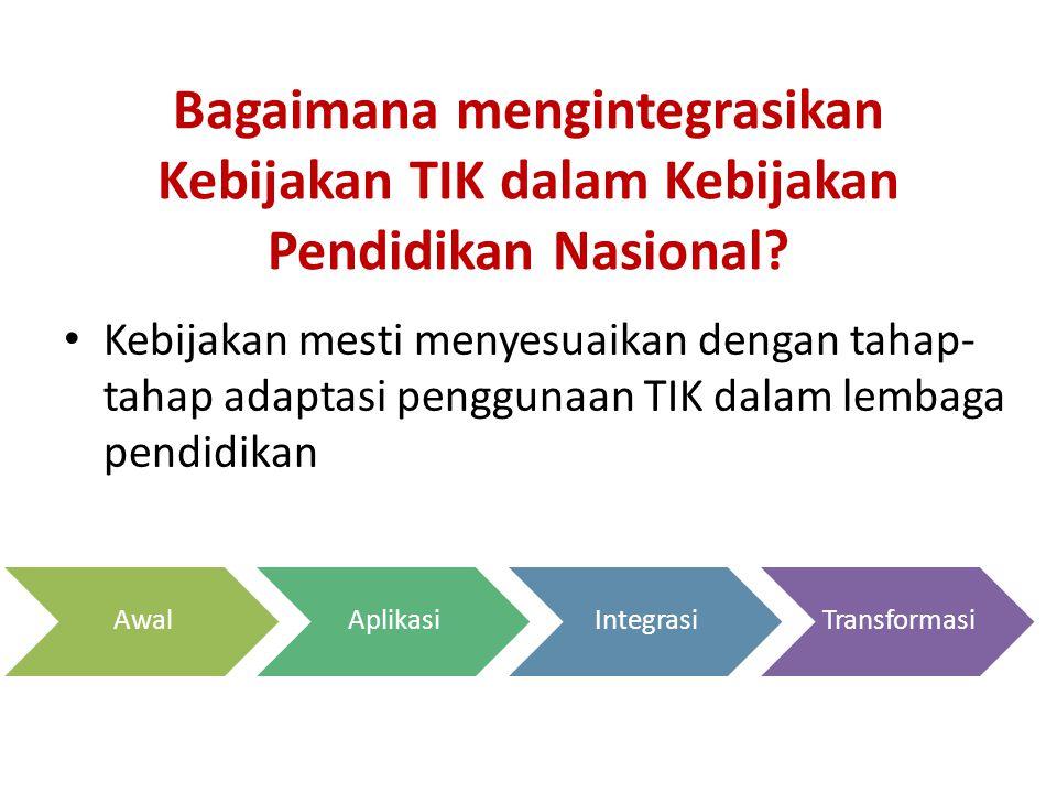 Bagaimana mengintegrasikan Kebijakan TIK dalam Kebijakan Pendidikan Nasional.
