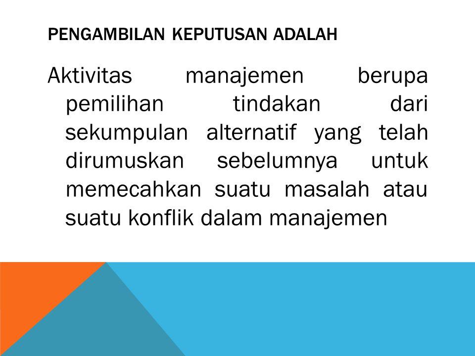 PENGAMBILAN KEPUTUSAN ADALAH Aktivitas manajemen berupa pemilihan tindakan dari sekumpulan alternatif yang telah dirumuskan sebelumnya untuk memecahka