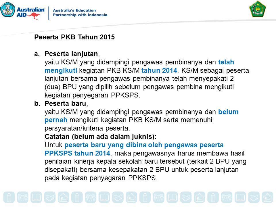 Peserta PKB Tahun 2015 a.Peserta lanjutan, yaitu KS/M yang didampingi pengawas pembinanya dan telah mengikuti kegiatan PKB KS/M tahun 2014. KS/M sebag