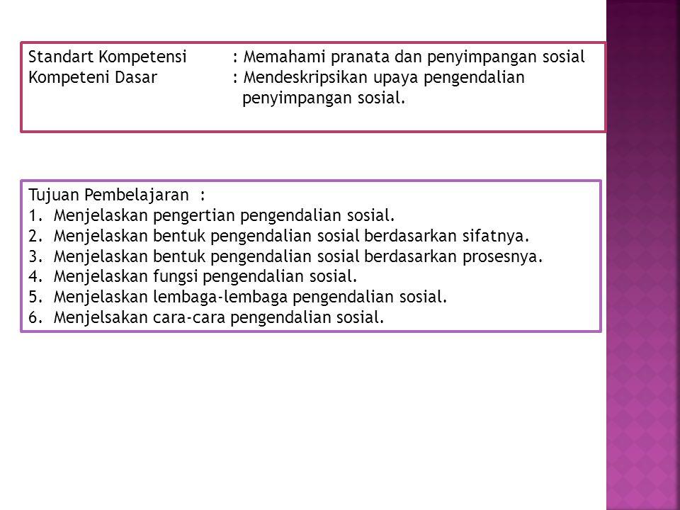 Standart Kompetensi: Memahami pranata dan penyimpangan sosial Kompeteni Dasar: Mendeskripsikan upaya pengendalian penyimpangan sosial. Tujuan Pembelaj