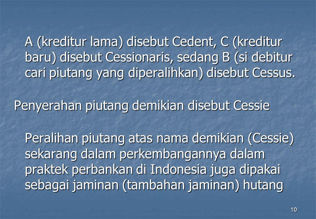 10 A (kreditur lama) disebut Cedent, C (kreditur baru) disebut Cessionaris, sedang B (si debitur cari piutang yang diperalihkan) disebut Cessus. Penye