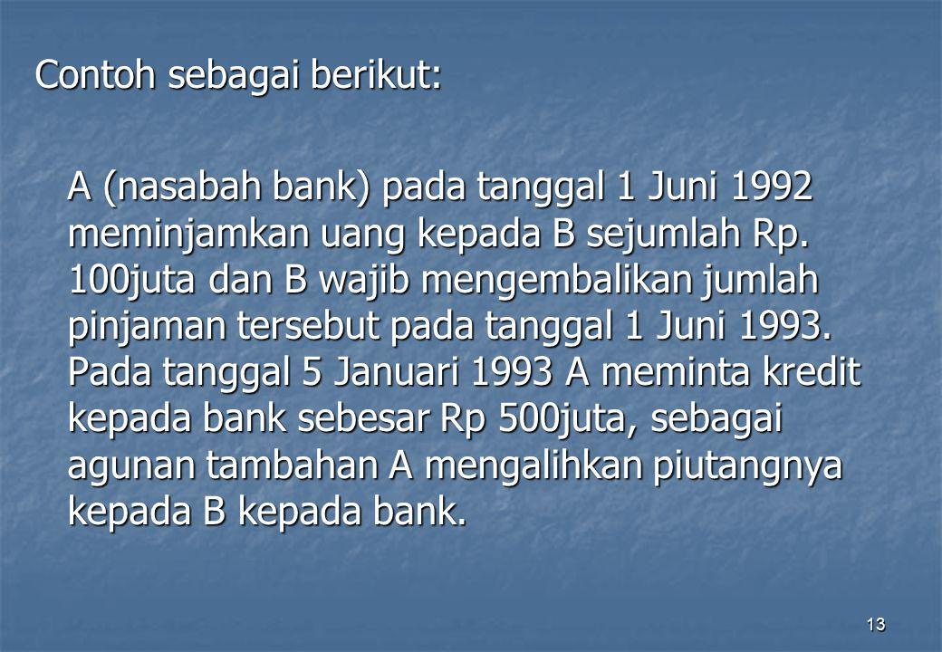 13 Contoh sebagai berikut: A (nasabah bank) pada tanggal 1 Juni 1992 meminjamkan uang kepada B sejumlah Rp. 100juta dan B wajib mengembalikan jumlah p