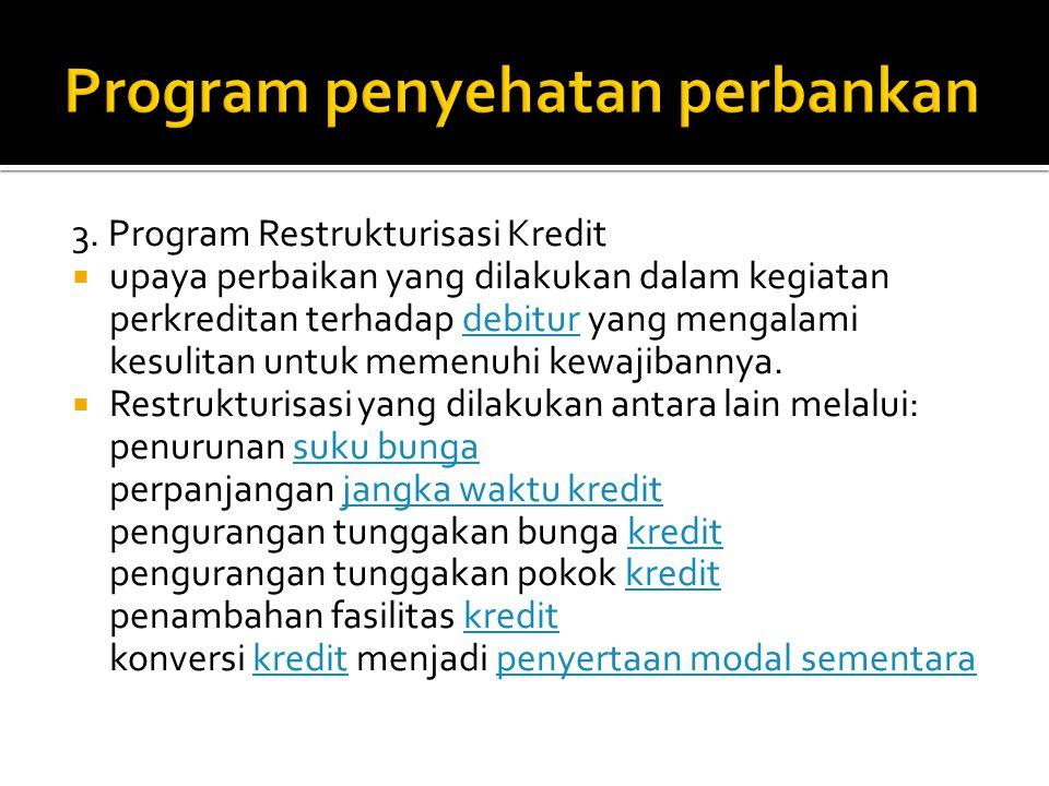 3. Program Restrukturisasi Kredit  upaya perbaikan yang dilakukan dalam kegiatan perkreditan terhadap debitur yang mengalami kesulitan untuk memenuhi