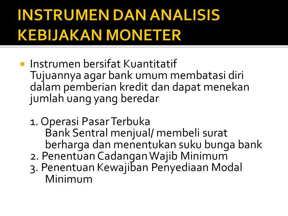  Instrumen bersifat Kuantitatif Tujuannya agar bank umum membatasi diri dalam pemberian kredit dan dapat menekan jumlah uang yang beredar 1.