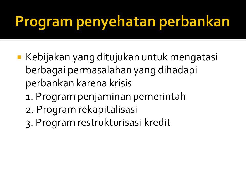  Kebijakan yang ditujukan untuk mengatasi berbagai permasalahan yang dihadapi perbankan karena krisis 1. Program penjaminan pemerintah 2. Program rek