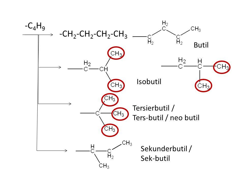 -CH 2 -CH 2 -CH 2 -CH 2 -CH 3 -C 5 H 11 Amil / pentil Isoamil Neoamil Tersier amil / Ters-amil Sekunderamil/ Sek-amil