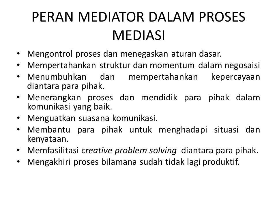 PERAN MEDIATOR DALAM PROSES MEDIASI Mengontrol proses dan menegaskan aturan dasar. Mempertahankan struktur dan momentum dalam negosaisi Menumbuhkan da