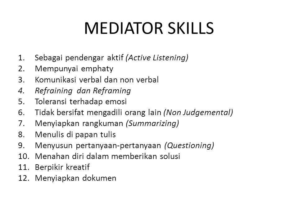 MEDIATOR SKILLS 1.Sebagai pendengar aktif (Active Listening) 2.Mempunyai emphaty 3.Komunikasi verbal dan non verbal 4.Refraining dan Reframing 5.Toler