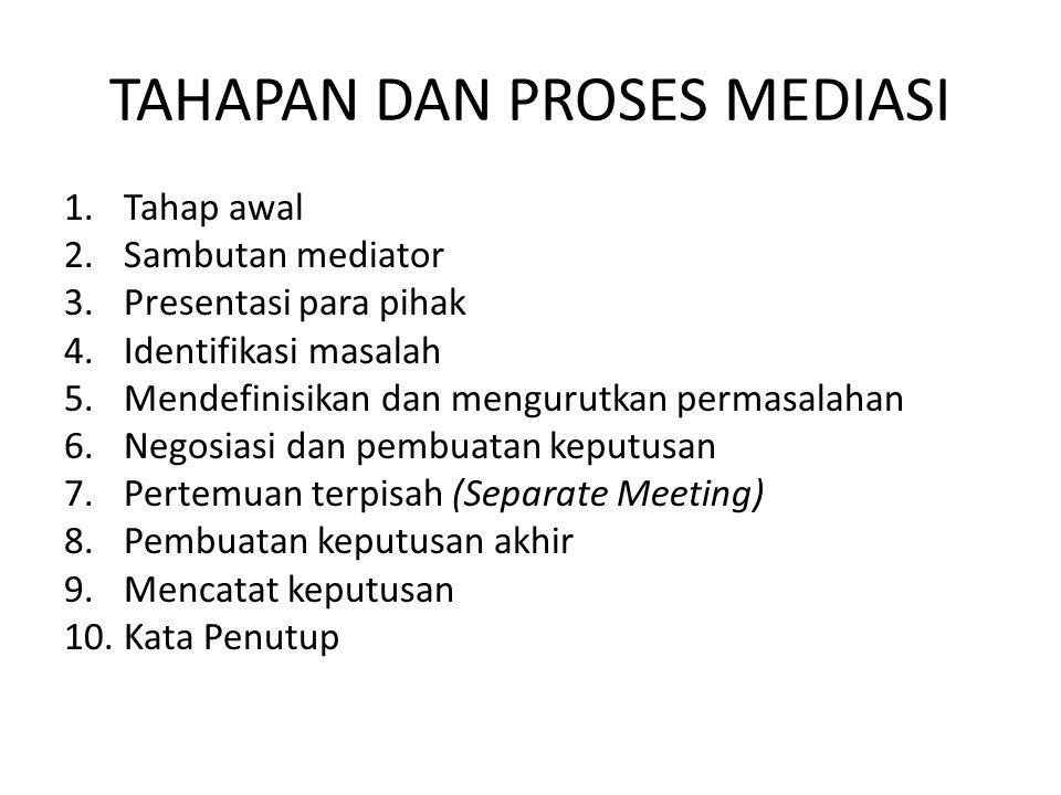TAHAPAN DAN PROSES MEDIASI 1.Tahap awal 2.Sambutan mediator 3.Presentasi para pihak 4.Identifikasi masalah 5.Mendefinisikan dan mengurutkan permasalah