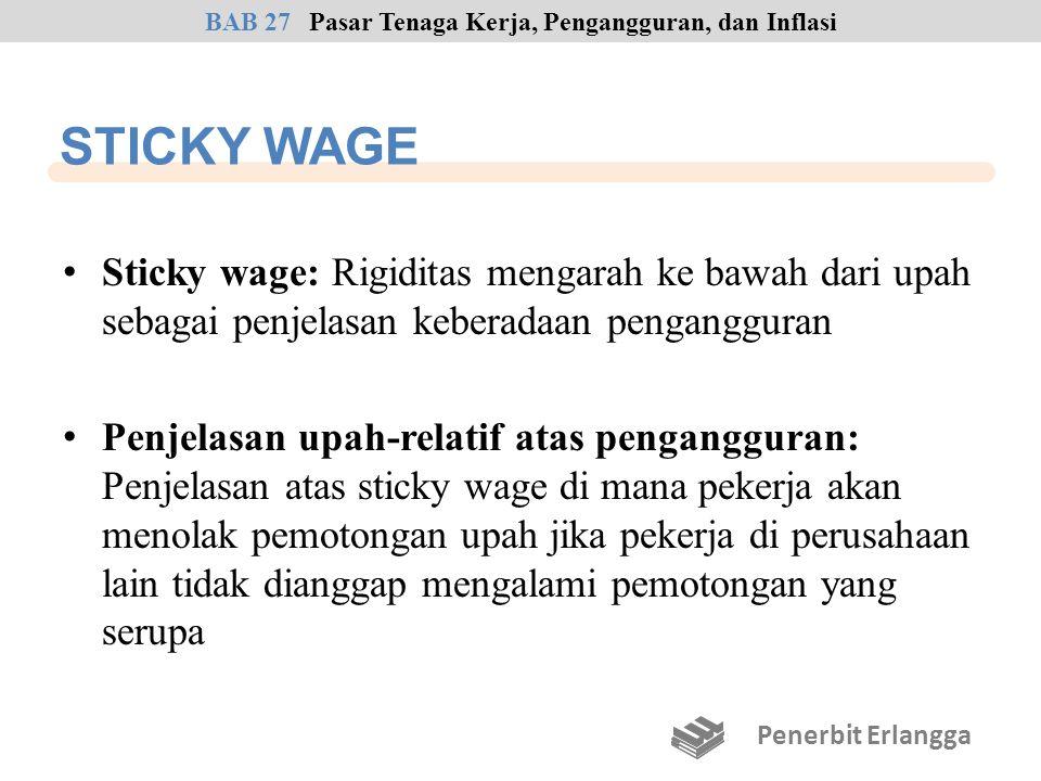 STICKY WAGE Sticky wage: Rigiditas mengarah ke bawah dari upah sebagai penjelasan keberadaan pengangguran Penjelasan upah-relatif atas pengangguran: P