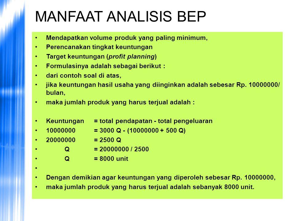 MANFAAT ANALISIS BEP Mendapatkan volume produk yang paling minimum, Perencanakan tingkat keuntungan Target keuntungan (profit planning) Formulasinya a