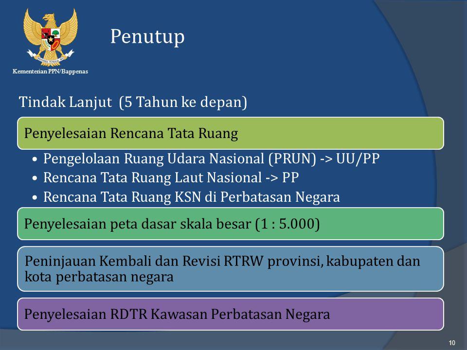 Kementerian PPN/Bappenas 10 Penutup Tindak Lanjut (5 Tahun ke depan) Penyelesaian Rencana Tata Ruang Pengelolaan Ruang Udara Nasional (PRUN) -> UU/PP