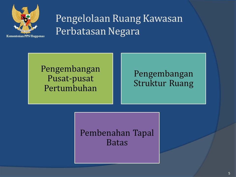 Kementerian PPN/Bappenas 5 Pengelolaan Ruang Kawasan Perbatasan Negara Pengembangan Pusat-pusat Pertumbuhan Pengembangan Struktur Ruang Pembenahan Tap