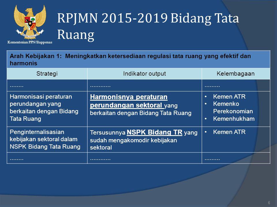 Kementerian PPN/Bappenas RPJMN 2015-2019 Bidang Tata Ruang 6 Arah Kebijakan 1: Meningkatkan ketersediaan regulasi tata ruang yang efektif dan harmonis