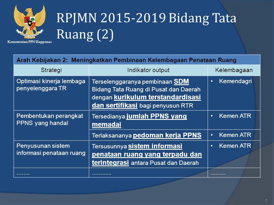 Kementerian PPN/Bappenas RPJMN 2015-2019 Bidang Tata Ruang (2) 7 Arah Kebijakan 2: Meningkatkan Pembinaan Kelembagaan Penataan Ruang StrategiIndikator