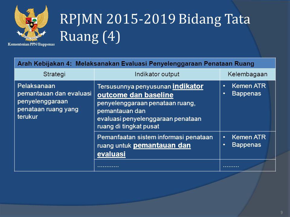 Kementerian PPN/Bappenas RPJMN 2015-2019 Bidang Tata Ruang (4) 9 Arah Kebijakan 4: Melaksanakan Evaluasi Penyelenggaraan Penataan Ruang StrategiIndika