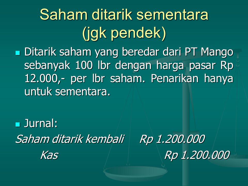 Saham ditarik sementara (jgk pendek) Ditarik saham yang beredar dari PT Mango sebanyak 100 lbr dengan harga pasar Rp 12.000,- per lbr saham.