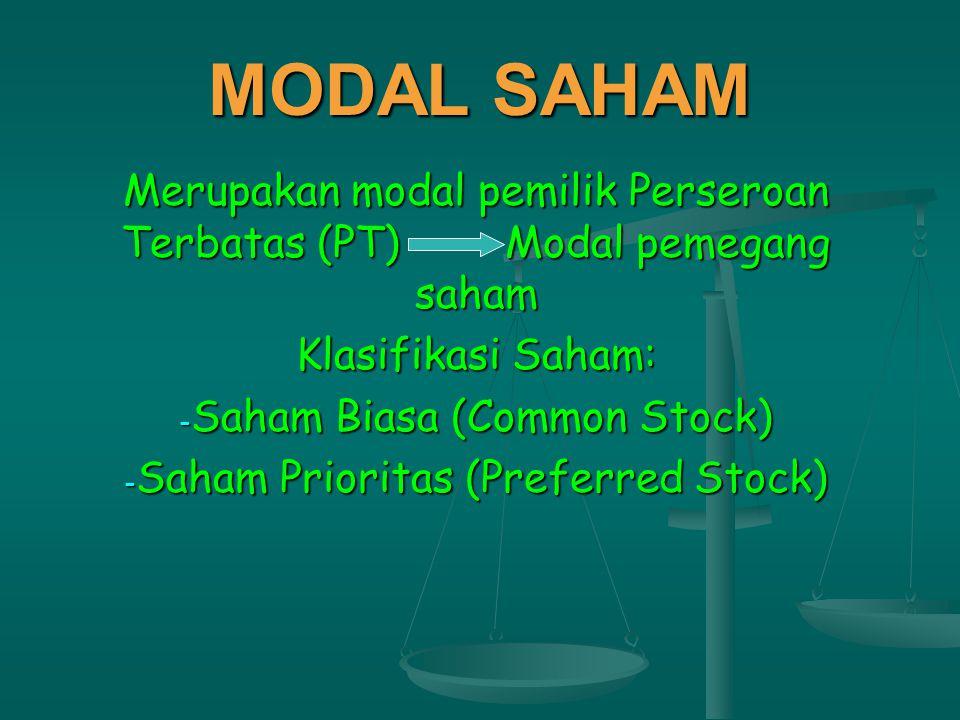 MODAL SAHAM Merupakan modal pemilik Perseroan Terbatas (PT)Modal pemegang saham Klasifikasi Saham: - Saham Biasa (Common Stock) - Saham Prioritas (Preferred Stock)