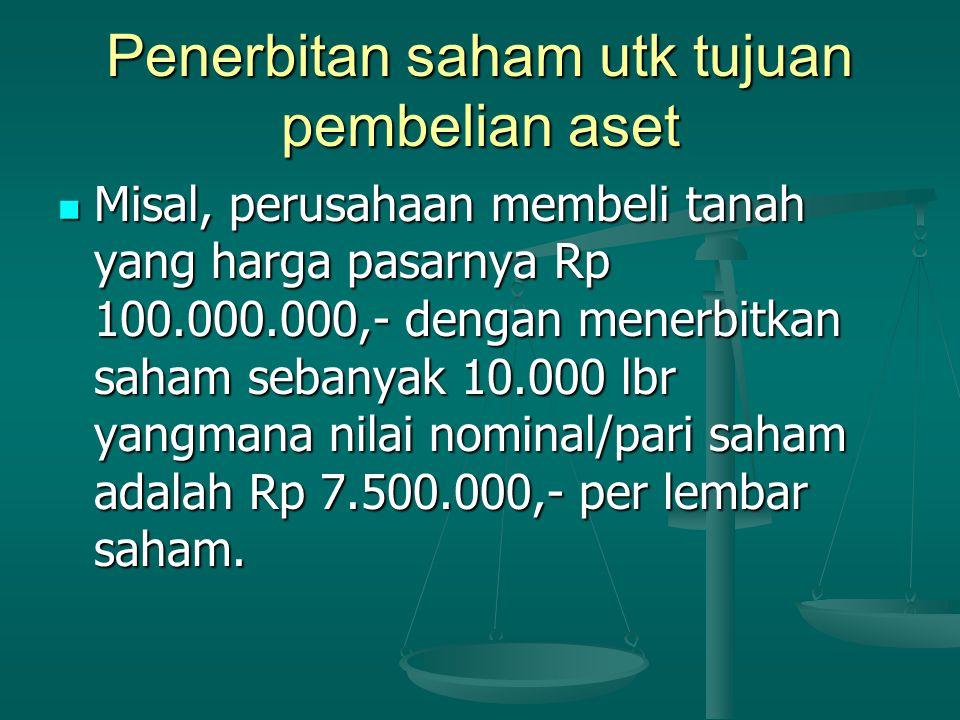 Hitungan dan Jurnal Harga pasar tanah Rp 100.000.000,- Harga pasar tanah Rp 100.000.000,- Nilai saham Nilai saham 10.000 lbr x Rp 7.500,- = Rp 75.000.000,- 10.000 lbr x Rp 7.500,- = Rp 75.000.000,- Agio saham Biasa Rp 25.000.000,- Jurnal: TanahRp 100.000.000,- Saham Biasa Rp 75.000.000,- Agio Saham Rp 25.000.000,-