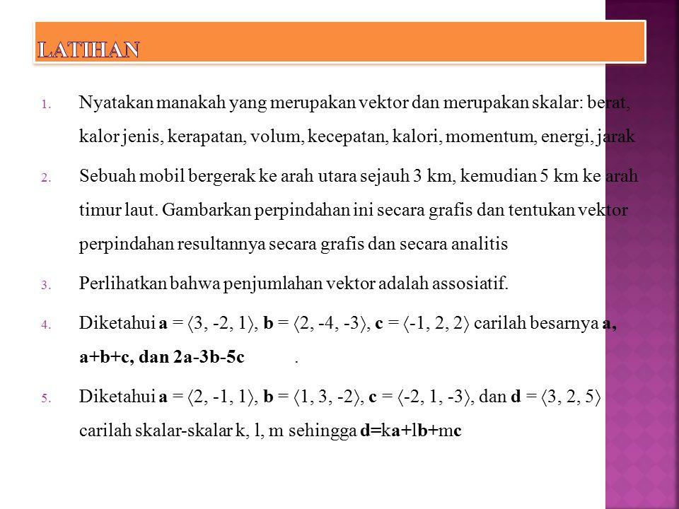 Hasilkali Titik Definisi Jika dan, maka hasilkali titik dari a dan b adalah bilangan a  b yang diberikan oleh HASIL KALI TITIK DAN HASIL KALI SILANG
