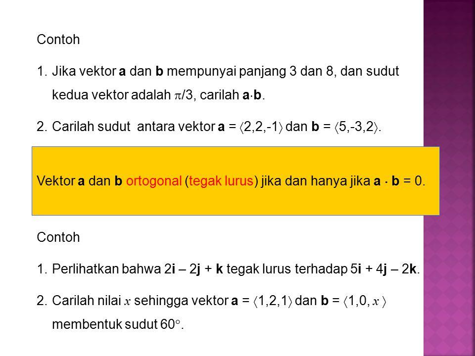 Contoh 1.Perlihatkan bahwa 2i – 2j + k tegak lurus terhadap 5i + 4j – 2k.