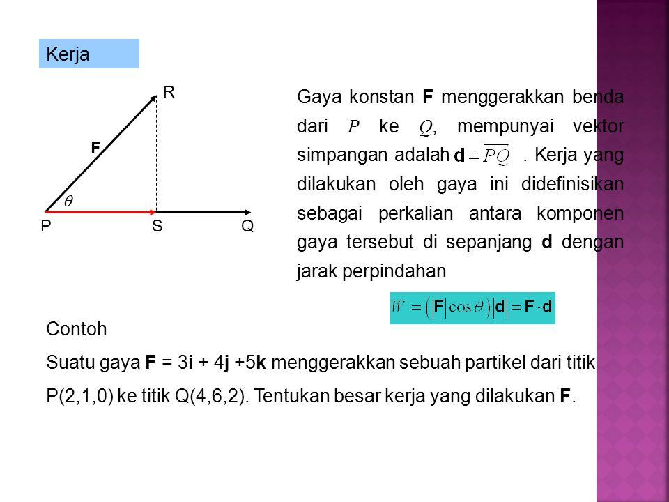 F  Kerja Gaya konstan F menggerakkan benda dari P ke Q, mempunyai vektor simpangan adalah.