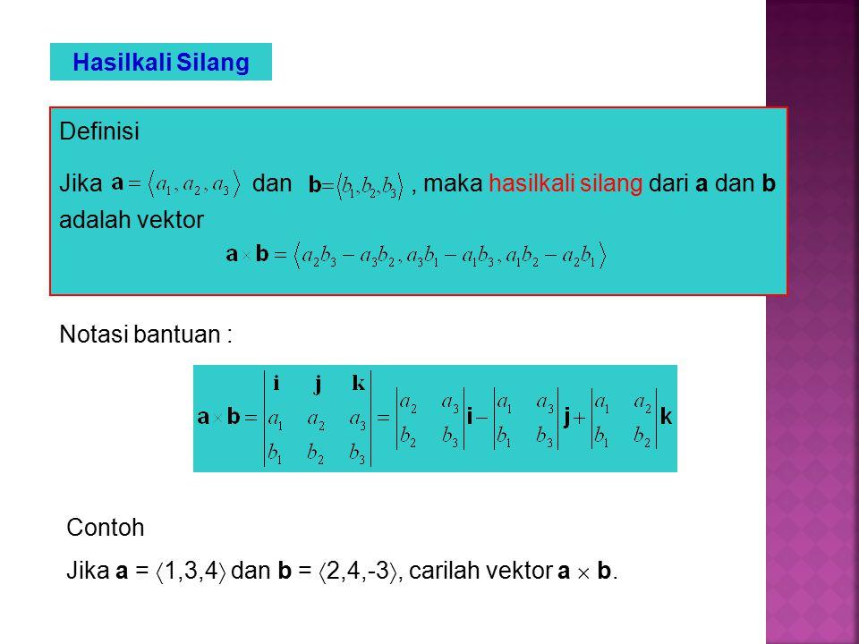 Hasilkali Silang Definisi Jika dan, maka hasilkali silang dari a dan b adalah vektor Notasi bantuan : Contoh Jika a =  1,3,4  dan b =  2,4,-3 , carilah vektor a  b.