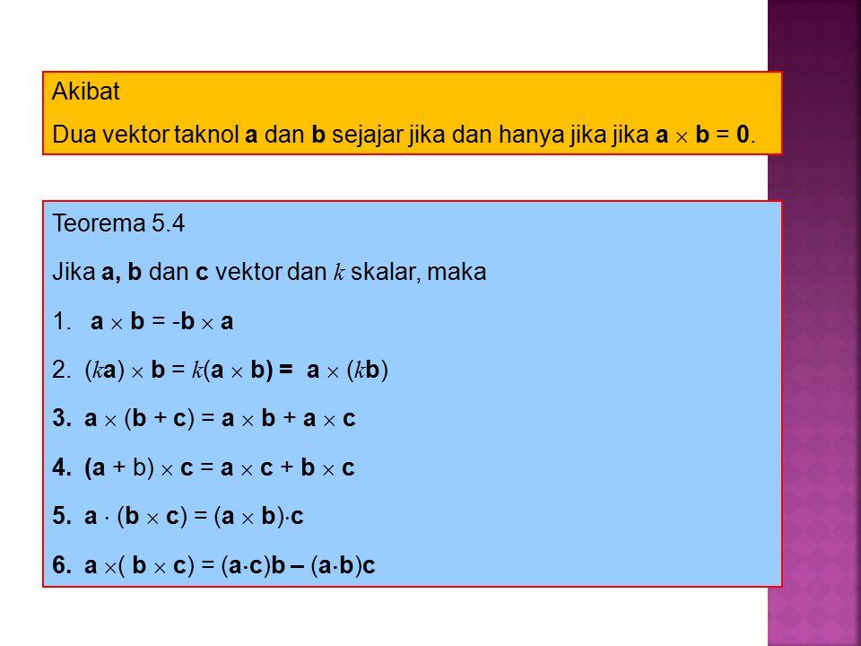 Teorema 5.4 Jika a, b dan c vektor dan k skalar, maka 1.
