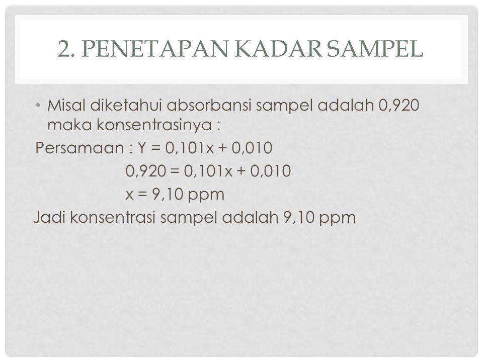 2. PENETAPAN KADAR SAMPEL Misal diketahui absorbansi sampel adalah 0,920 maka konsentrasinya : Persamaan : Y = 0,101x + 0,010 0,920 = 0,101x + 0,010 x