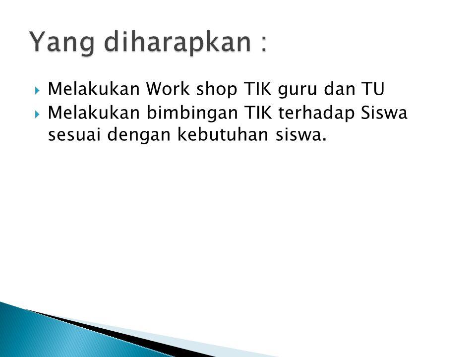  Melakukan Work shop TIK guru dan TU  Melakukan bimbingan TIK terhadap Siswa sesuai dengan kebutuhan siswa.